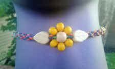Rainbow Flower & Leaves Hemp Anklet Handmade Macrame Ankle Bracelet