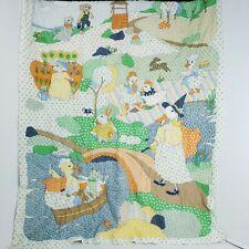 "Vintage Nursery Rhyme Quilt Handmade Animal Theme 32"" × 40"""