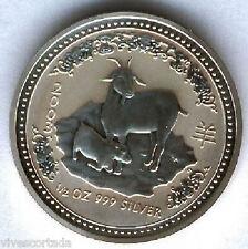 Australia 2003 50 Ctms.1/2 onza plata pura Calendario asiatico año de la CABRA