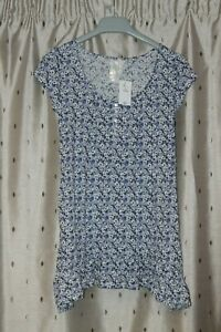 BHS Ladies Poly Cotton Blue Floral Tunic Length Top ~ Size 10 ~ NWT ~ *£22