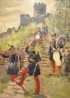 Regamey Estampa Enmarcada 1911 (1) Uniformes 1856 Oficial Fusilier Infantería