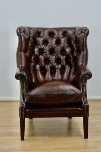 The Bradford Hand Antiqued Leather Wingback Chair