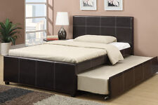 NEW DREW CONTEMPORARY ESPRESSO BYCAST LEATHER FULL BED w/ TWIN UNDER BED TRUNDLE