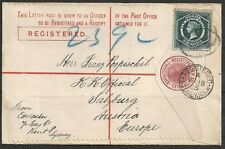 New South Wales covers 1905 Registered Letter Sydney to Salzburg