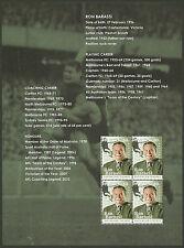 AUSTRALIA 2012 RON BARASSI AFL LEGEND Souvenir Sheet ex Prestige Booklet MNH