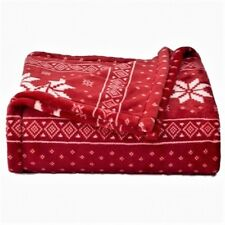 The Big One Super Soft Oversized 5 ft x 6 ft Plush Throw,Red/White Snowflake,NWT