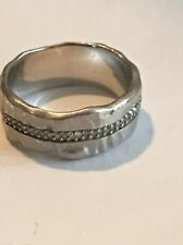 AVINDY 925 HAMMERED Sterling Silver PAVE SET Diamond Band Ring Size 6-MINTY