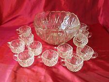 Hazel Atlas Williamsport Clear Square Punch Bowl Star and Fans and 12 Cups