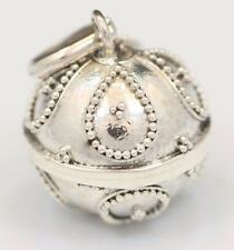 Handmade Solid Sterling Silver .925 Bali Style Harmony Chime Ball Pendant. 12mm.