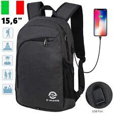 """Zaino Scuola Uomo USB 15.6"""" da Viaggio Impermeabile Laptop PC Computer Notebook"""