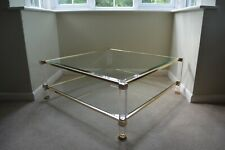 PIERRE VANDEL FRENCH LUCITE & GLASS COFFEE TABLE hollywood regency mid century