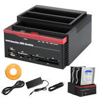 "3 IDE SATA 2.5"" 3.5"" HDD Hard Drive Disk Clone Docking Station Card Reader USA"