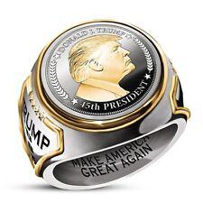 "Unique Men Ring ""Make America Great Again"" USA President Trump Jewelry Size 7-13"