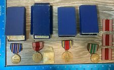 VINTAGE WW2 4 BOXED MEDALS GOOD CONDUCT VICTORY EAME CAMPAIGNE  99A
