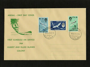 GILBERT & ELLICE - 1964 - AIR SERVICE - FIRST DAY COVER - WITH FUNAFUTI CDS