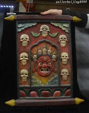 Old Tibetan Painting Wood Mahakala Wrathful Deity Head Thangka Wall Hang 20 inch