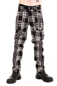 Tiger of London Mens Black and White Tartan Zip Bondage Pants. Punk Rock