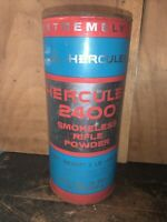 Vintage Hercules 2400 BLUE Smokeless Rifle Powder Fiber Can One Pound Empty #3