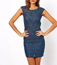 Lipsy Lace Sequin Bodycon Dress 10 Blue Teal Party Club Evening Occasion Xmas