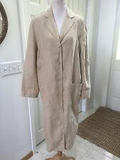 City DKNY 100% Linen Beige Trench Coat Duster Mint! Medium
