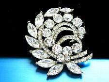 Rhinestones Silver Plate Brooch Ed0 Elegant Signed Eisenberg Ice Clear Crystals
