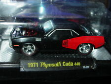M2 Machines 1971 71 Plymouth Cuda Gasser 440 Collectible Muscle -Gloss Black Mip