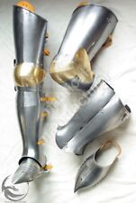 Medieval 18G Steel Fully Functional Full Leg Plate Armor Pair Reenactment Replic