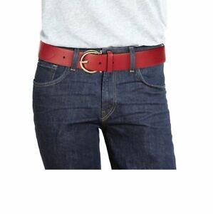 $430 NEW Salvatore Ferragamo Men 36 in Goldtone Gancio Buckle Red Leather Belt