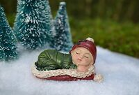Miniature FAIRY GARDEN ~  Winter CHRISTMAS Sleeping Baby in Santa Hat Figurine