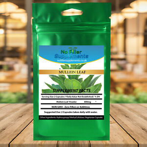 Mullein Leaf Vegetable Capsules Verbascum Thapsus NoFillerSupplements