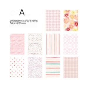 50Pcs Source Material Paper For Journaling Scrapbooking Decor Memo Pad 10 Design