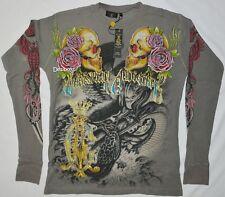 Christian Audigier Authentic Snake Eagle Battle Skull Roses Rhinestones Thermal