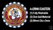 4 x BRONCOS 2015 RUNNERS UP FOOTBALL RUGBY LEAGUE DRINK COASTERS - Re-usable