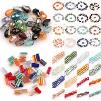 Lots Faceted Glass Crystal Charms Findings Rectangle&Teardrop Spacer Loose Beads