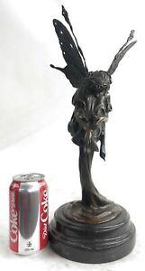 Western Pure Bronze Marble Fairy Nymph Angel Statue Art Deco Sculpture Hot cast