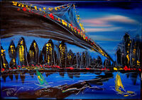 Brooklyn bridge  by Mark Kazav  Abstract Modern CANVAS Original Oil Pfehtre