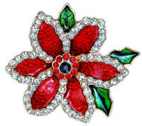 Gorgeous POINSETTIA Flower RHINESTONE Glossy RED Retro Vintage Christmas BROOCH