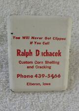 Vintage Ralph Duchacek Corn Shelling & Cracking,Elberon,Iowa IA Advertising Clip