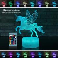 3D Kids Night Light Remote RGB Unicorn LED Illusion Lamp Desk Lantern Boby Gifts