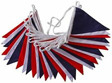 RED WHITE BLUE FABRIC BUNTING  ROYAL WEDDING 10 METERS UNION JACK 24 FLAGS UJ