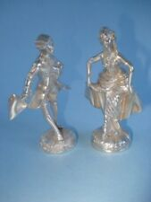 A Pair of Camusso Solid Sterling Statuettes Of Romantic Couple In 18th Attire