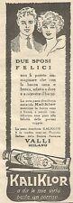 W8282 Dentifricio KALIKLOR - Due sposi felici - Pubblicità del 1926 - Vintage ad