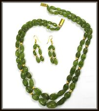 Liquidation sale 515.45 ct Natural Green Peridot tumble beads Necklace Earrings