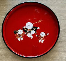 Vintage Japanese Red Black Lacquerware Kokeshi Design Lacquer Plate, Tray