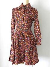 Vtg Vivid Hanae Mori Dress Long Sleeve Belted Multi-Color Pleated Size 8(US S)