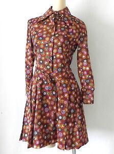 Vtg Vivid Hanae Mori Dress Long Sleeve Belted Multi-Color Pleated Size 2XS/ XS