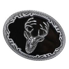 Retro Men Deer Elk Head Oval Western Cowboy Christmas Alloy Belt Buckle Gift