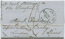 1865 TRANS ATLANTIC FOLDED LETTER. NY > BOSTON  > ENGLAND > CADIZ,  SPAIN ta 69