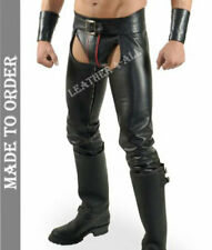 Men's Real Leather Chaps Bikers Chaps With Detachable Codpiece Chaps