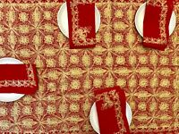 """AGHABANI EMBROIDERED TABLECLOTH Gold Silk on Red  94x59"""" Approx."""
